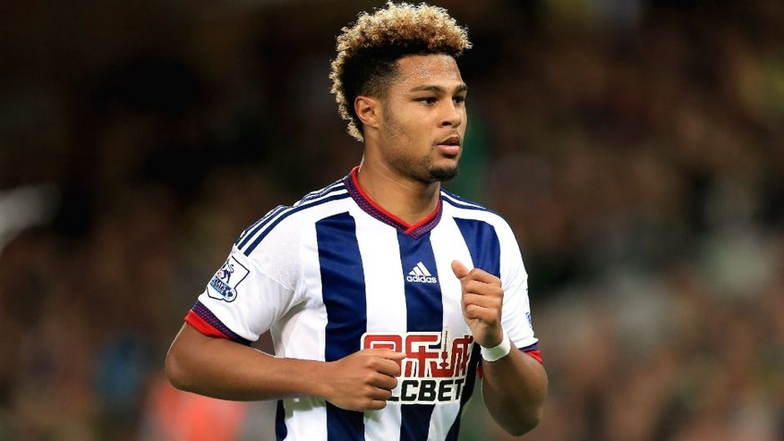 NORWICH, ENGLAND - SEPTEMBER 23: Serge Gnabry of West Bromwich Albion during the Capital One Cup Third Round match between Norwich City and West Bromwich Albion at Carrow Road on September 23, 2015 in Norwich, England. (Photo by Stephen Pond/Getty Images)