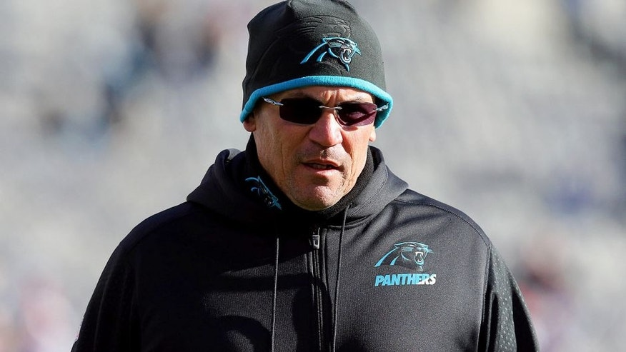 Dec 20, 2015; East Rutherford, NJ, USA; Carolina Panthers head coach Ron Rivera during warm ups before a game against the New York Giants at MetLife Stadium. Mandatory Credit: Brad Penner-USA TODAY Sports