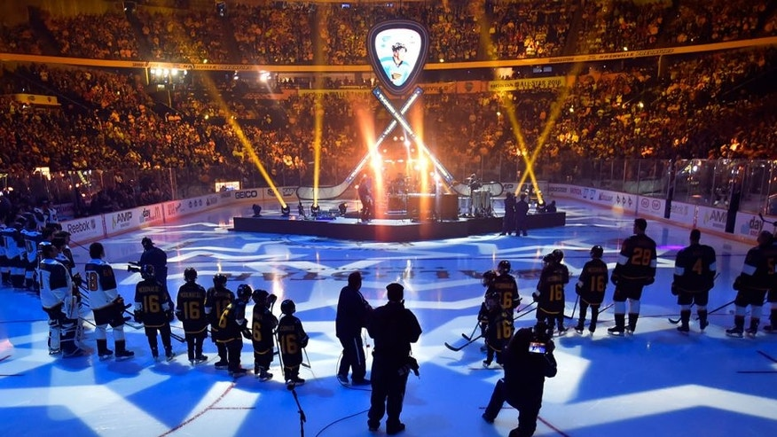 Jan 31, 2016; Nashville, TN, USA; General view of the ice during player introductions at the 2016 NHL All Star Game at Bridgestone Arena. Mandatory Credit: Christopher Hanewinckel-USA TODAY Sports
