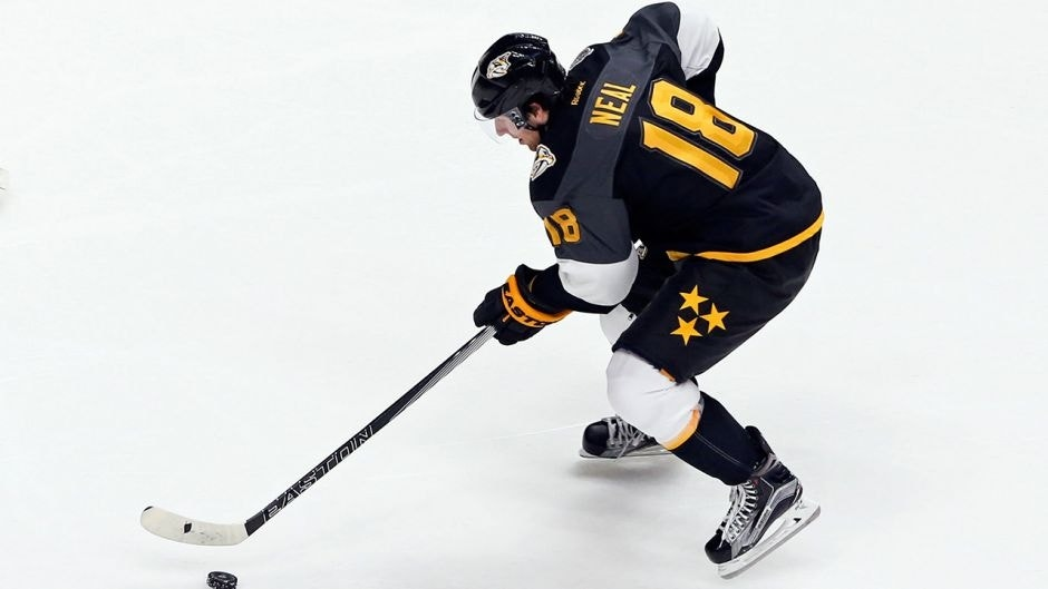 Jan 31, 2016; Nashville, TN, USA; Central Division forward James Neal (18) of the Nashville Predators controls the puck during the 2016 NHL All Star Game at Bridgestone Arena. Mandatory Credit: Aaron Doster-USA TODAY Sports