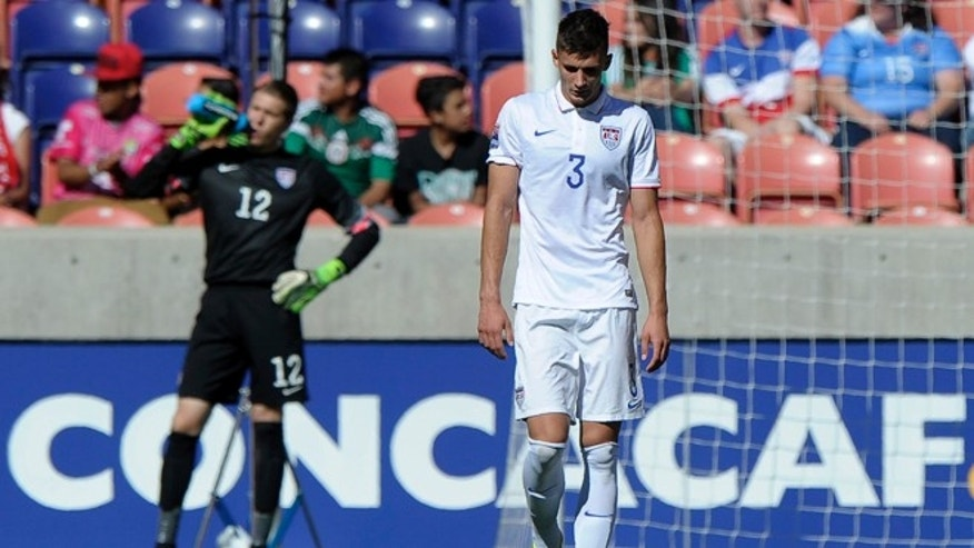 SANDY UT- OCTOBER 10: Matthew Miazga #3 and goalie Ethan Horvath #12 both of the United States react to the 2nd goal by Honduras during the semifinal round of the 2015 CONCACAF Olympic Qualifying match at Rio Tinto Stadium on October 10, 2015 in Sandy, Utah. Honduras beat the United States 2-0. (Photo by Gene Sweeney Jr/Getty Images)