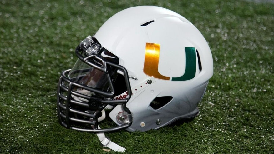 Dec 28, 2013; Orlando, FL, USA; A Miami Hurricanes helmet sits on the sidelines during the second quarter of the Russell Athletic Bowl against the Louisville Cardinals at Florida Citrus Bowl Stadium. Mandatory Credit: Rob Foldy-USA TODAY Sports