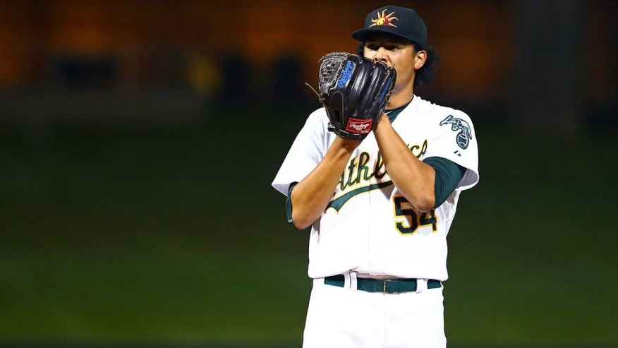Nov 7, 2015; Phoenix, AZ, USA; Oakland Athletics pitcher Sean Manaea during the Arizona Fall League Fall Stars game at Salt River Fields. Mandatory Credit: Mark J. Rebilas-USA TODAY Sports