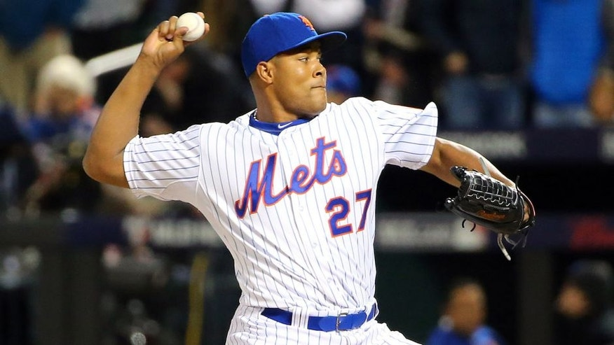 Oct 30, 2015; New York City, NY, USA; New York Mets relief pitcher Jeurys Familia throws a pitch against the Kansas City Royals in the 9th inning in game three of the World Series at Citi Field. Mandatory Credit: Anthony Gruppuso-USA TODAY Sports