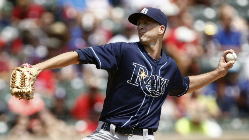 <p>Aug 16, 2015; Arlington, TX, USA; Tampa Bay Rays starting pitcher Drew Smyly (33) delivers a pitch to the Texas Rangers during the first inning of a baseball game at Globe Life Park in Arlington. Mandatory Credit: Jim Cowsert-USA TODAY Sports</p>