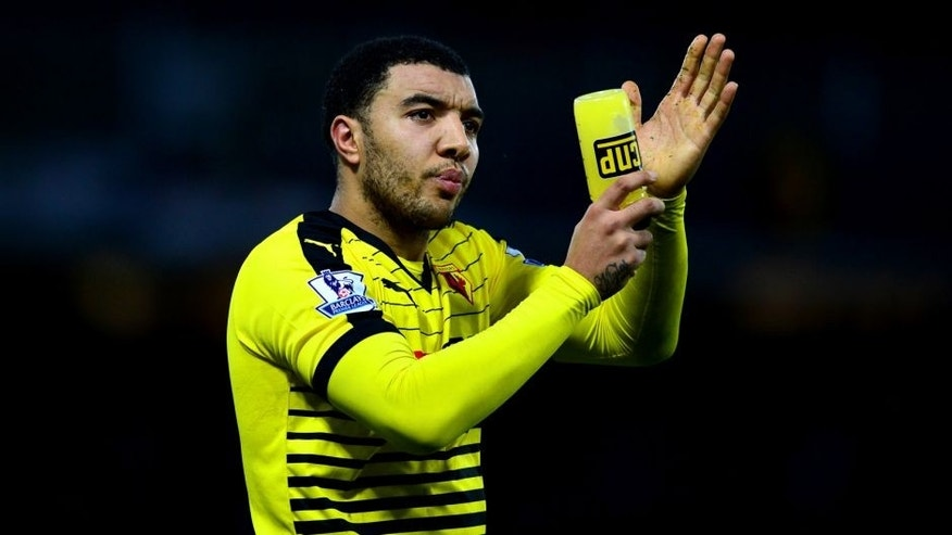 WATFORD, ENGLAND - JANUARY 23: Troy Deeney of Watford appluads after his team's 2-1 win the Barclays Premier League match between Watford and Newcastle United at Vicarage Road on January 23, 2016 in Watford, England (Photo by Dan Mullan/Getty Images)