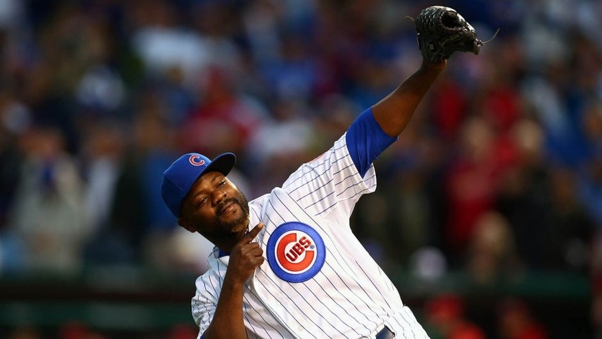October 13, 2015; Chicago, IL, USA; Chicago Cubs relief pitcher Fernando Rodney (57) reacts after he is relieved in the seventh inning against St. Louis Cardinals in game four of the NLDS at Wrigley Field. Mandatory Credit: Jerry Lai-USA TODAY Sports