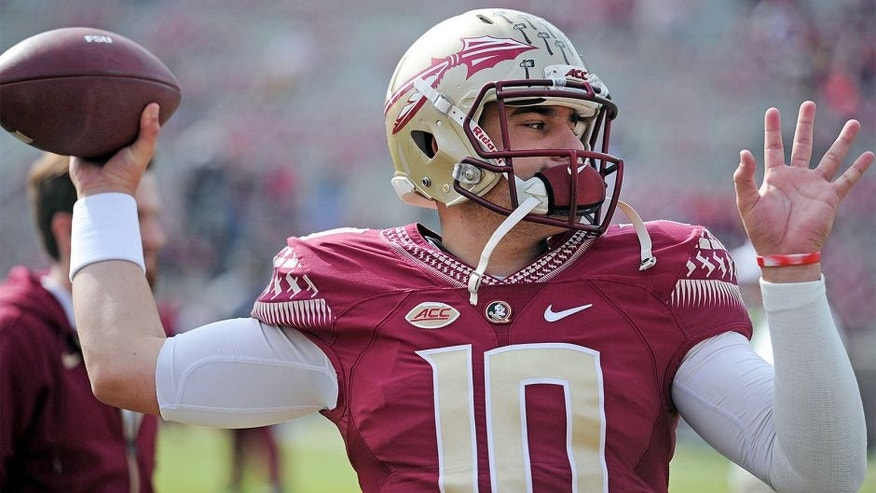 Nov 14, 2015; Tallahassee, FL, USA; Florida State University quarterback Sean Maguire (10) warms up before the game against the North Carolina State Wolfpack at Doak Campbell Stadium. Mandatory Credit: Melina Vastola-USA TODAY Sports