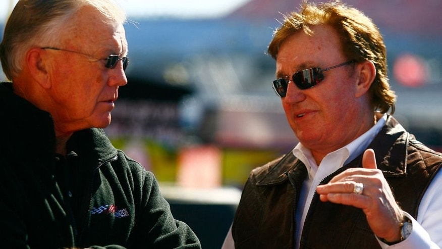 TALLADEGA, AL - OCTOBER 29: Team owners Joe Gibbs (L) and Richard Childress talk in the garage area during practice for the NASCAR Sprint Cup Series AMP Energy Juice 500 at Talladega Superspeedway on October 29, 2010 in Talladega, Alabama. (Photo by Jason Smith/Getty Images for NASCAR)