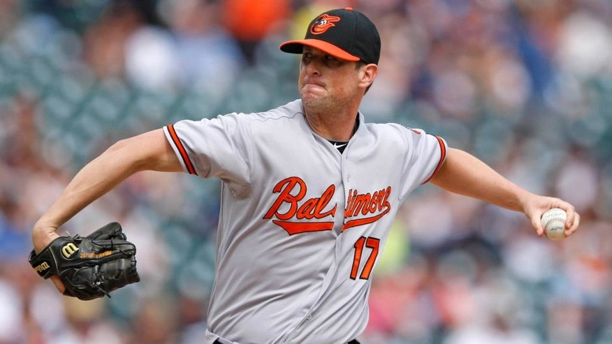 Jul 19, 2015; Detroit, MI, USA; Baltimore Orioles relief pitcher Brian Matusz (17) pitches during the eighth inning against the Detroit Tigers at Comerica Park. Orioles beat the Tigers 9-3. Mandatory Credit: Raj Mehta-USA TODAY Sports