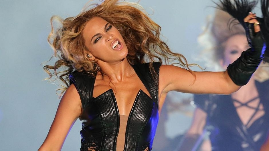 Feb 3, 2013; New Orleans, LA, USA; Beyonce performs during the halftime show in Super Bowl XLVII between the San Francisco 49ers and the Baltimore Ravens at the Mercedes-Benz Superdome. Mandatory Credit: Matthew Emmons-USA TODAY Sports