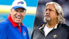 <p>ORCHARD PARK, NY - AUGUST 14: Head coach Rex Ryan of the Buffalo Bills laughs with players before the game against the Carolina Panthers on August 14, 2015 at Ralph Wilson Stadium in Orchard Park, New York. (Photo by Brett Carlsen/Getty Images)<br> <br> ARLINGTON, TX - SEPTEMBER 28: Defensive Coordinator Rob Ryan of the New Orleans Saints walks the field as Tony Romo #9 of the Dallas Cowboys stands in the background before the start of the game at AT&T Stadium on September 28, 2014 in Arlington, Texas. (Photo by Tom Pennington/Getty Images)</p>