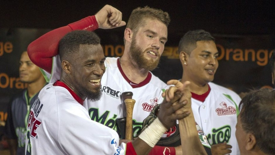 Mexico teammates celebrate after defeating Venezuela in the final game of the 2016 Caribbean baseball series in Santo Domingo, Dominican Republic, on February 7, 2016. AFP PHOTO/ERIKA SANTELICES / AFP / ERIKA SANTELICES (Photo credit should read ERIKA SANTELICES/AFP/Getty Images)
