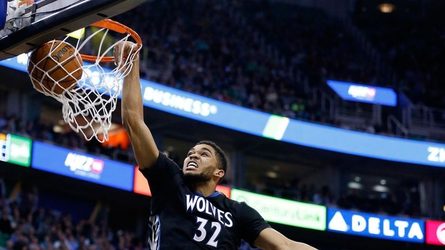 <p>Jan 29, 2016: Minnesota Timberwolves center Karl-Anthony Towns dunks the ball in the second quarter against the Utah Jazzat Vivint Smart Home Arena. Minnesota lost 103-90, despite 32 points from Towns.</p>