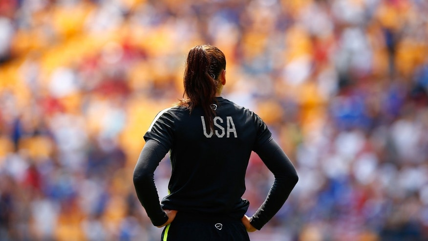 PITTSBURGH, PA - AUGUST 16:  Hope Solo #1 of the United States in action against Costa Rica during the match at Heinz Field on August 16, 2015 in Pittsburgh, Pennsylvania.  (Photo by Jared Wickerham/Getty Images)