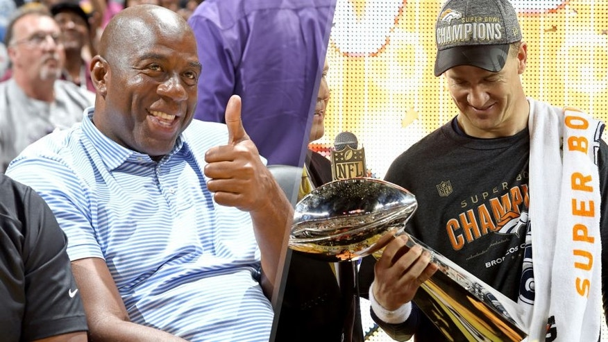 <p>LOS ANGELES, CA - AUGUST 04: Los Angeles Sparks owner Magic Johnson poses for a portrait during a game against the Minnesota Lynx at Staples Center on August 04, 2015 in Los Angeles, California. NOTE TO USER: User expressly acknowledges and agrees that, by downloading and or using this photograph, User is consenting to the terms and conditions of the Getty Images License Agreement. Mandatory Copyright Notice: Copyright 2015 NBAE (Photo by Adam Pantozzi/NBAE via Getty Images)<br> <br> SANTA CLARA, CA - FEBRUARY 07: Peyton Manning #18 of the Denver Broncos celebrates with the Vince Lombardi Trophy after winning Super Bowl 50 at Levi's Stadium on February 7, 2016 in Santa Clara, California. The Denver Broncos defeated the Carolina Panthers 24-10. (Photo by Streeter Lecka/Getty Images)</p>