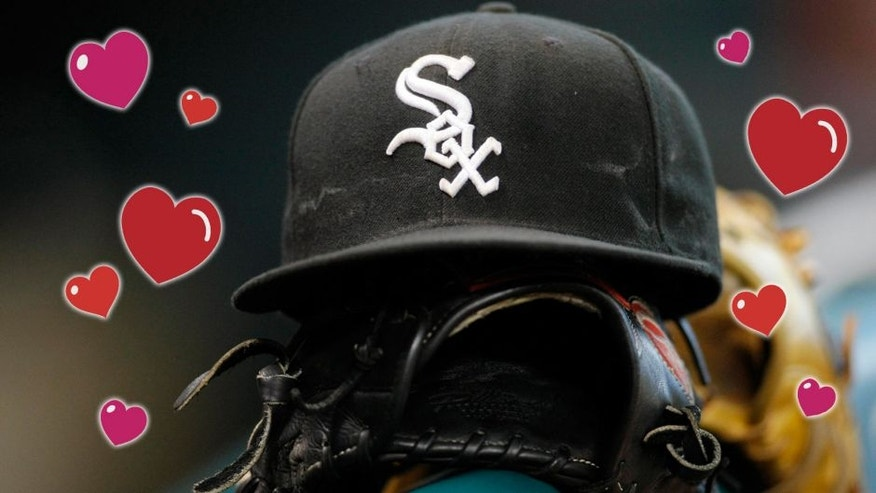 Apr 3, 2012; Houston, TX, USA; Detail view of a Chicago White Sox hat and glove on the bench before a game against the Houston Astros at Minute Maid Park. Mandatory Credit: Brett Davis-USA TODAY Sports