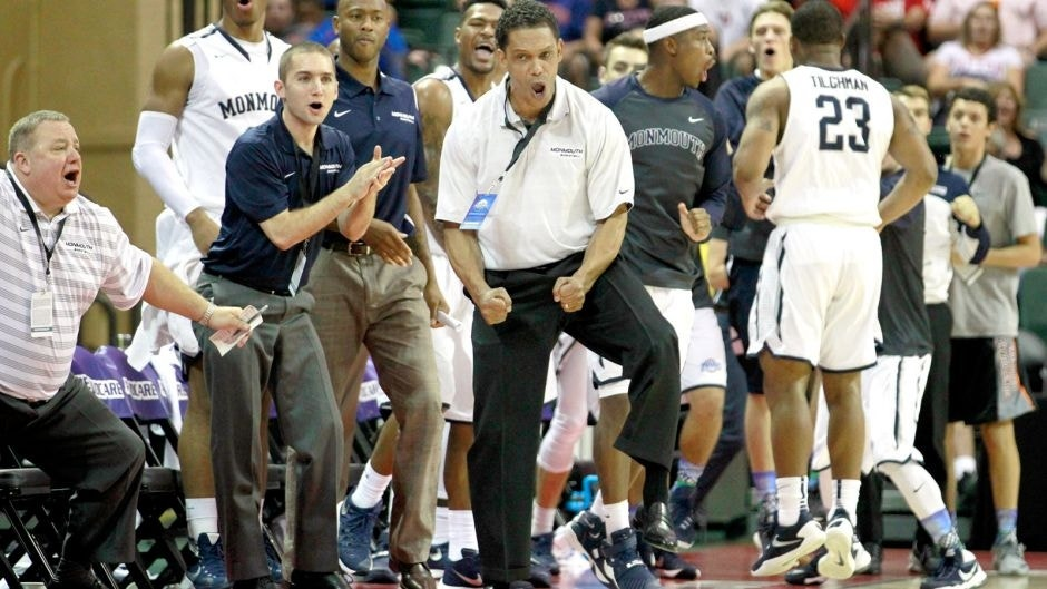 Nov 26, 2015; Lake Buena Vista, FL, USA; Monmouth Hawks head coach King Rice reacts against the Notre Dame Fighting Irish during the second half at ESPN Wide World of Sports Complex. Monmouth beat Notre Dame 70-68. Mandatory Credit: Kim Klement-USA TODAY Sports