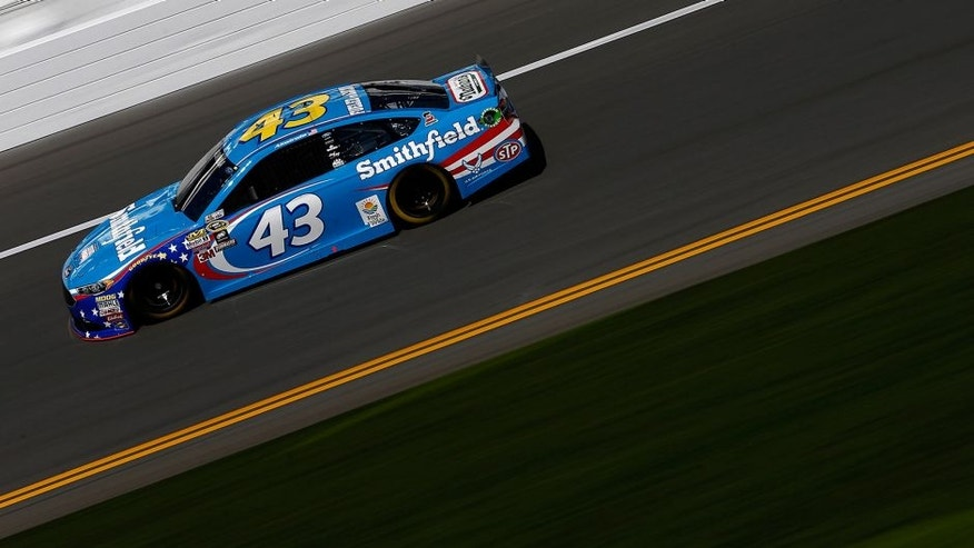 DAYTONA BEACH, FL - FEBRUARY 13: Aric Almirola, driver of the #43 Smithfield Ford, practices for the NASCAR Sprint Cup Series Daytona 500 at Daytona International Speedway on February 13, 2016 in Daytona Beach, Florida. (Photo by Jeff Zelevansky/Getty Images)