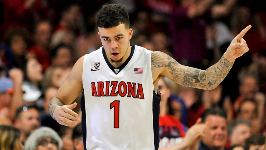 Feb 14, 2016; Tucson, AZ, USA; Arizona Wildcats guard Gabe York (1) celebrates after scoring against the Southern California Trojans during the first half at McKale Center. Mandatory Credit: Casey Sapio-USA TODAY Sports
