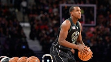 <p>Milwaukee Bucks forward Khris Middleton competes in the three-point contest during the NBA All Star Saturday Night at Air Canada Centre in Toronto.</p>