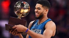 <p>Minnesota Timberwolves center Karl-Anthony Towns reacts as he holds the Skills Challenge trophy during the NBA All Star Saturday Night at Air Canada Centre in Toronto</p>