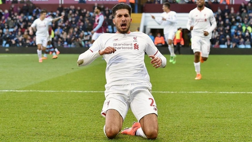 BIRMINGHAM, ENGLAND - FEBRUARY 14: (THE SUN OUT, THE SUN ON SUNDAY OUT) Emre Can of Liverpool celebrates after scoring during the Barclays Premier League match between Aston Villa and Liverpool at Villa Park on February 14, 2016 in Birmingham, England. (Photo by John Powell/Liverpool FC via Getty Images)