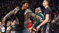 <p>Minnesota Timberwolves' Zach LaVine, right, and Timberwolves teammate Andrew Wiggins react after LaVine's slam dunk during the NBA all-star skills competition in Toronto.</p>