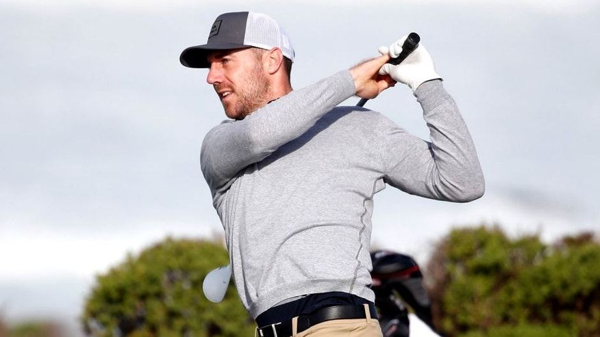 PEBBLE BEACH, CA - FEBRUARY 12: Alex Smith plays his tee shot on the 13th hole during the second round of the AT&T Pebble Beach National Pro-Am at the Monterey Peninsula Country Club (Shore Course) on February 12, 2016 in Pebble Beach, California. (Photo by Sean M. Haffey/Getty Images)