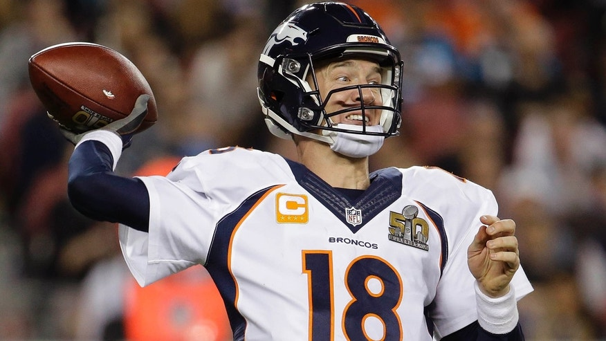Feb. 7, 2016: Peyton Manning of the Denver Broncos passes against the Carolina Panthers during the second half of Super Bowl 50 in Santa Clara, Calif. (AP/Julio Cortez)