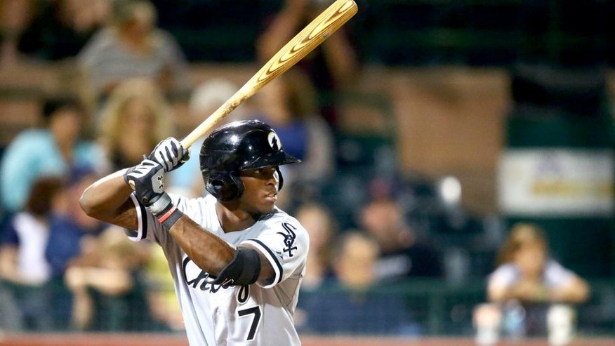 Oct. 10, 2014; Scottsdale, AZ, USA; Chicago White Sox infielder Tim Anderson plays for the Glendale Desert Dogs against the Scottsdale Scorpions during an Arizona Fall League game at Cubs Park. Mandatory Credit: Mark J. Rebilas-USA TODAY Sports