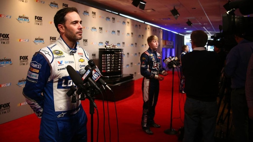 DAYTONA BEACH, FL - FEBRUARY 16: NASCAR Sprint Cup Series driver Jimmie Johnson speaks to the media during NASCAR Media Day at Daytona International Speedway on February 16, 2016 in Daytona Beach, Florida. (Photo by Sarah Crabill/NASCAR via Getty Images)