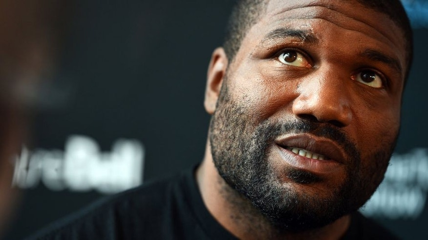 MONTREAL, QC - APRIL 23: Quinton 'Rampage' Jackson interacts with media during the UFC 186 Ultimate Media Day at Scena on April 23, 2015 in Montreal, Quebec, Canada. (Photo by Jeff Bottari/Zuffa LLC/Zuffa LLC via Getty Images)
