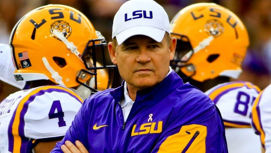 Oct 24, 2015; Baton Rouge, LA, USA; LSU Tigers head coach Les Miles against the Western Kentucky Hilltoppers during the second quarter of a game at Tiger Stadium. Mandatory Credit: Derick E. Hingle-USA TODAY Sports