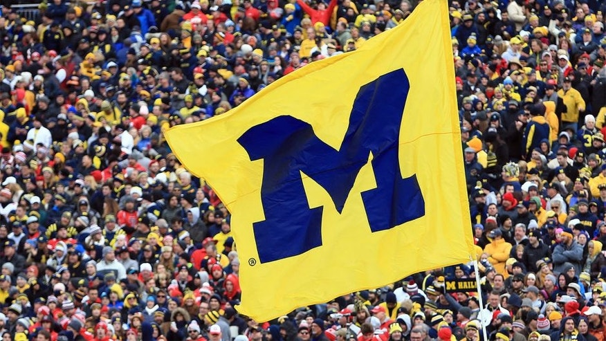 ANN ARBOR, MI - NOVEMBER 28: A Michigan Wolverines flag during the game between the Michigan Wolverines and the Ohio State Buckeyes at Michigan Stadium on November 28, 2015 in Ann Arbor, Michigan. Ohio State defeated Michigan 42-13. (Photo by Andrew Weber/Getty Images)