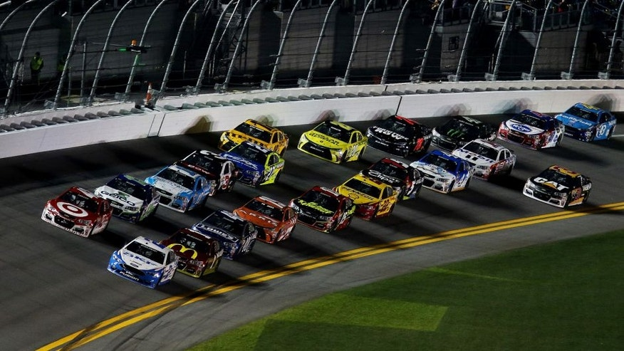 DAYTONA BEACH, FL - FEBRUARY 13: Brad Keselowski, driver of the #2 SKF Ford, leads a pack of cars during the NASCAR Sprint Cup Series Sprint Unlimited at Daytona International Speedway on February 13, 2016 in Daytona Beach, Florida. (Photo by Jerry Markland/Getty Images)