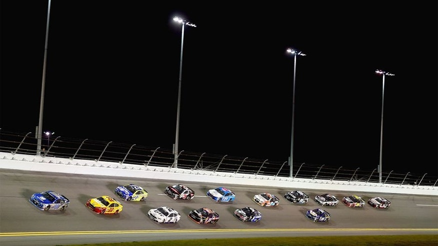 DAYTONA BEACH, FL - FEBRUARY 18: Dale Earnhardt Jr., driver of the #88 Nationwide Chevrolet, leads the field during the NASCAR Sprint Cup Series Can-Am Duels at Daytona International Speedway on February 18, 2016 in Daytona Beach, Florida. (Photo by Jared C. Tilton/Getty Images)