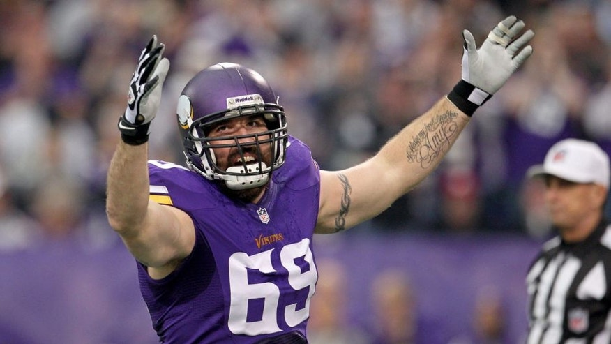 <p>Dec 29, 2013; Minneapolis, MN, USA; Minnesota Vikings defensive end Jared Allen (69) celebrates a sack during the first quarter against the Detroit Lions at Mall of America Field at H.H.H. Metrodome. Mandatory Credit: Brace Hemmelgarn-USA TODAY Sports</p>