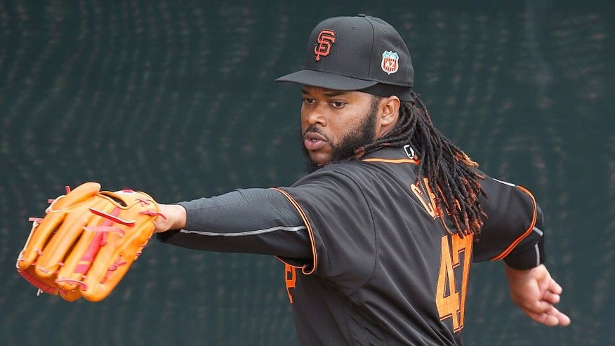 Feb 18, 2016; Scottsdale, AZ, USA; San Francisco Giants starting pitcher Johnny Cueto works in the bullpen during spring training camp at Scottsdale Stadium. Mandatory Credit: Rick Scuteri-USA TODAY Sports