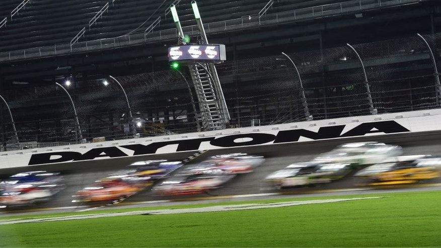 Drivers race during the NASCAR XFINITY Series Subway Firecracker 250 Powered By Coca-Cola at Daytona International Speedway on July 4, 2015 in Daytona Beach, Florida.
