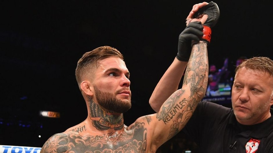 LAS VEGAS, NV - JULY 11: Cody Garbrandt reacts to his victory over Henry Briones in their bantamweight fight during the UFC 189 event inside MGM Grand Garden Arena on July 11, 2015 in Las Vegas, Nevada. (Photo by Josh Hedges/Zuffa LLC/Zuffa LLC via Getty Images)