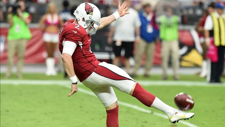 GLENDALE, AZ - OCTOBER 12: Drew Butler #2 of the Arizona Cardinals punts the ball against the Washington Redskins at University of Phoenix Stadium on October 12, 2014 in Glendale, Arizona. (Photo by Norm Hall/Getty Images)