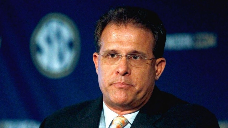Auburn coach Gus Malzahn speaks during SEC media days on Monday, July 14, 2014, in Hoover, Ala. (AP Photo/Butch Dill)