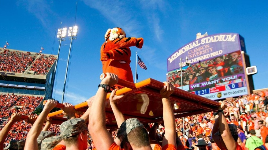 Oct 4, 2014; Clemson, SC, USA; Clemson Tigers mascot during the third quarter against the North Carolina State Wolfpack at Clemson Memorial Stadium. Mandatory Credit: Joshua S. Kelly-USA TODAY Sports