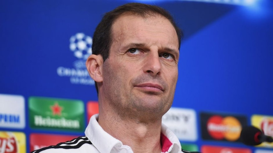 TURIN, ITALY - FEBRUARY 22: Head Coach Massimiliano Allegri talks during the Juventus press conference ahead of the UEFA Champions League match against Bayern Muenchen at Juventus Arena on February 22, 2016 in Turin, Italy. (Photo by Matthias Hangst/Bongarts/Getty Images)