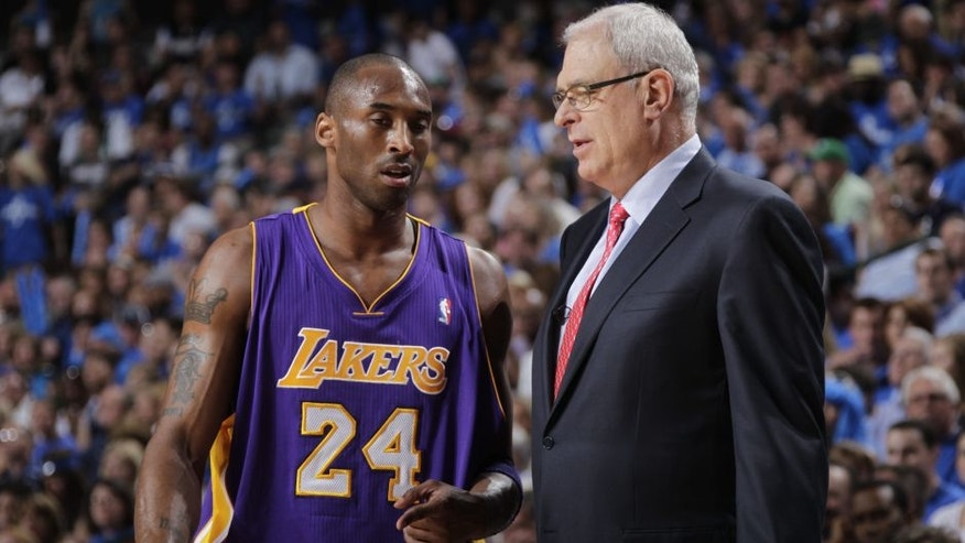 <p>Image: (From left) Los Angeles Lakers star Kobe Bryant & former coach Phil Jackson (© Glenn James / NBAE via Getty Images)</p>