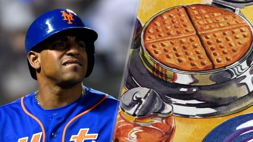 Nov 1, 2015; New York City, NY, USA; New York Mets center fielder Yoenis Cespedes (52) reacts after popping out in the 6th inning against the Kansas City Royals in game five of the World Series at Citi Field. Mandatory Credit: Robert Deutsch-USA TODAY Sports Vintage illustration of a waffle cooking in a waffle iron, with a syrup dispenser; screen print, 1940s. (Photo by GraphicaArtis/Getty Images)