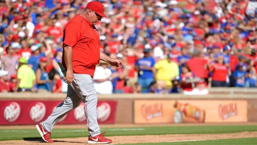 ARLINGTON, TX - OCTOBER 4: Manager Mike Scioscia #14 of the Los Angeles Angels of Anaheim makes a visit to the mound during the seventh inning of the game against the Texas Rangers at Globe Life Park in Arlington on October 4, 2015 in Arlington, California. (Photo by Matt Brown/Angels Baseball LP/Getty Images)