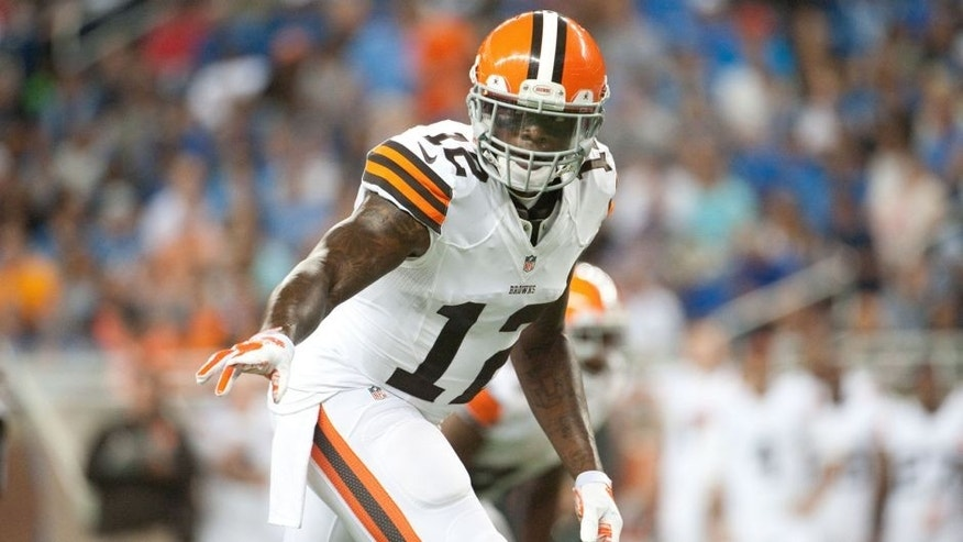 Aug 9, 2014; Detroit, MI, USA; Cleveland Browns wide receiver Josh Gordon (12) during the first quarter against the Detroit Lions at Ford Field. Mandatory Credit: Tim Fuller-USA TODAY Sports