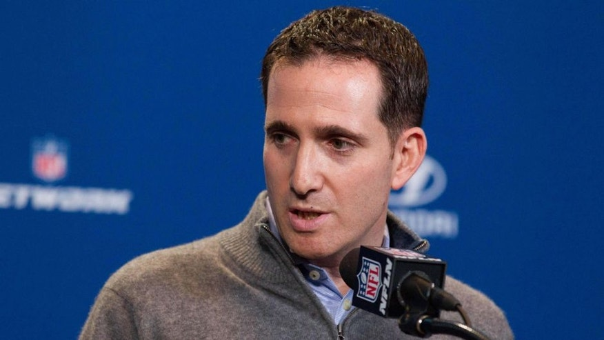 Feb 24, 2016; Indianapolis, IN, USA; Philadelphia Eagles executive vice president of football operations Howie Roseman speaks to the media during the 2016 NFL Scouting Combine at Lucas Oil Stadium. Mandatory Credit: Trevor Ruszkowski-USA TODAY Sports